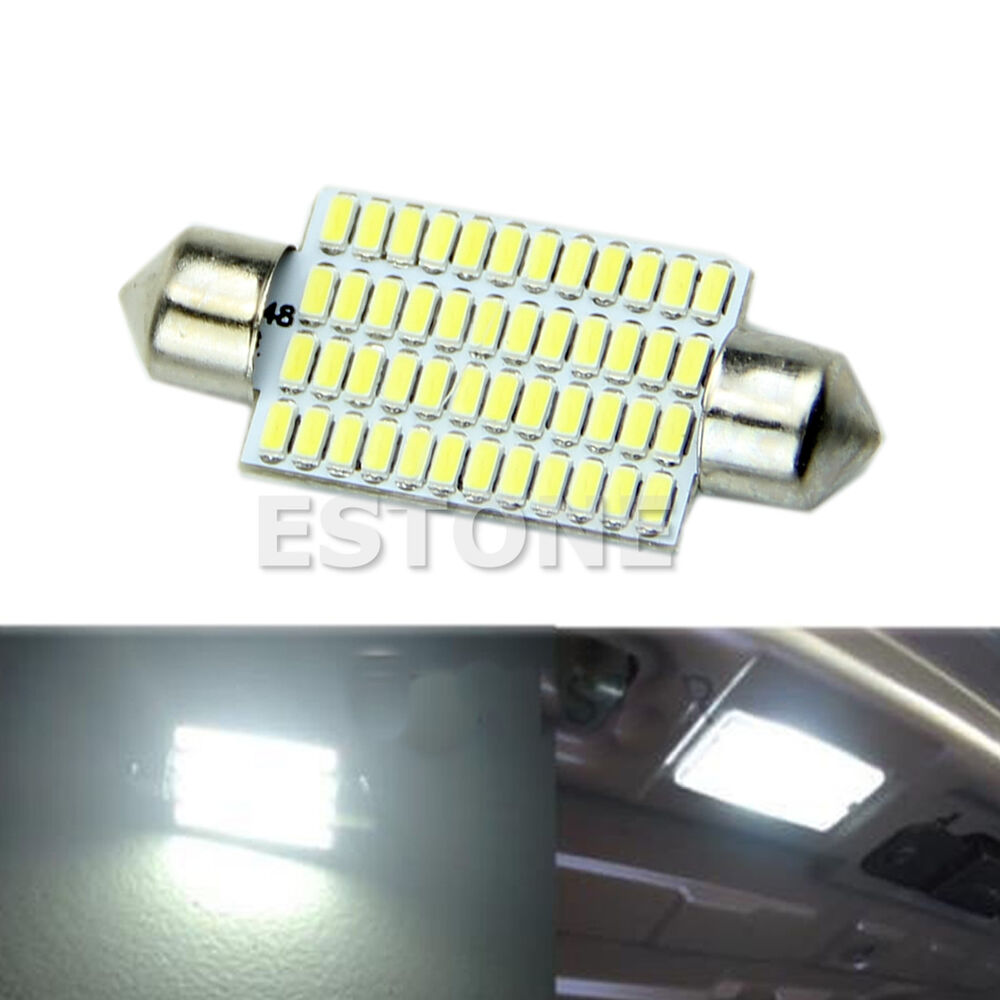bright white 42mm 48 led 3014 smd car interior festoon dome light bulbs lamp ebay. Black Bedroom Furniture Sets. Home Design Ideas