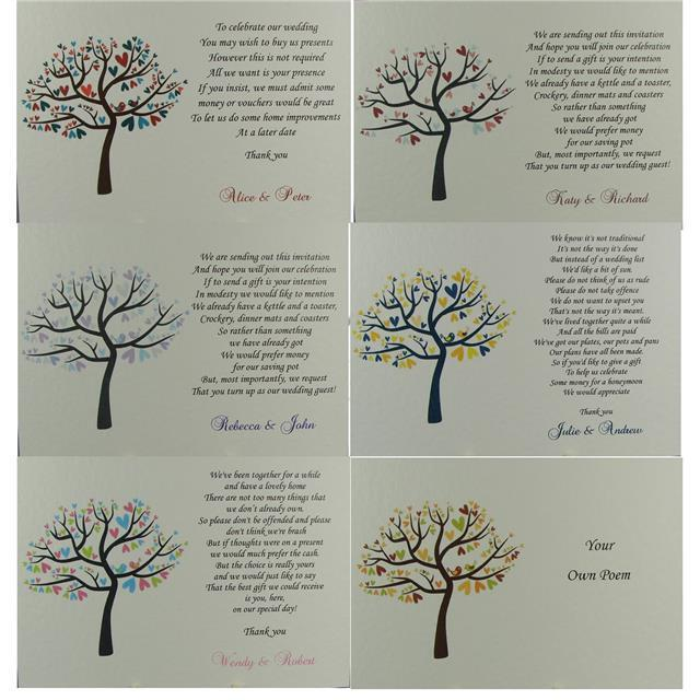 Wedding Gift Tree Poem : ... Wedding Inserts Honeymoon Money Gift Poem Cards Birds Tree eBay