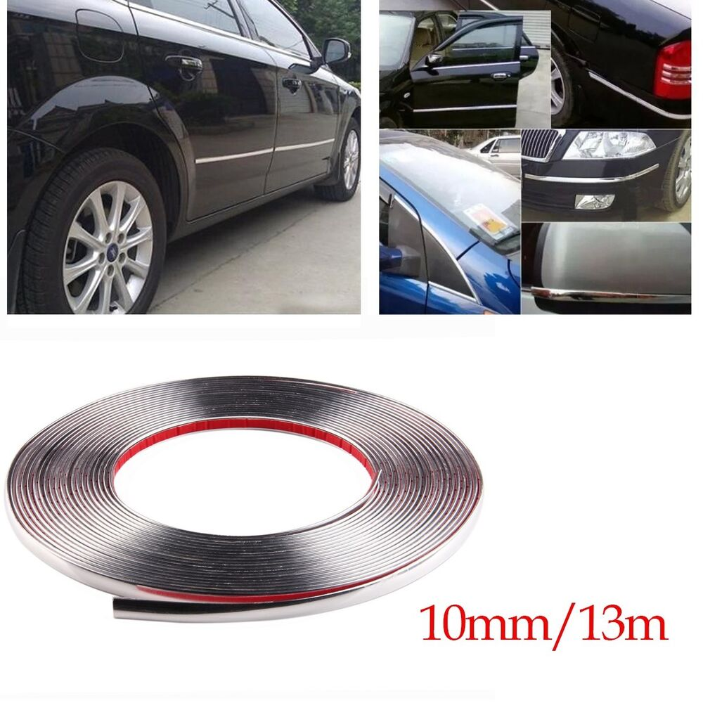 Car Chrome Decor Strip Silver Moulding Trim Window Exterior Accessories 10mmx13m Ebay