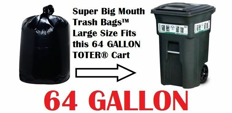 64 gallon trash bags for roll carts super big mouth bags free shipping 3 mil ebay. Black Bedroom Furniture Sets. Home Design Ideas