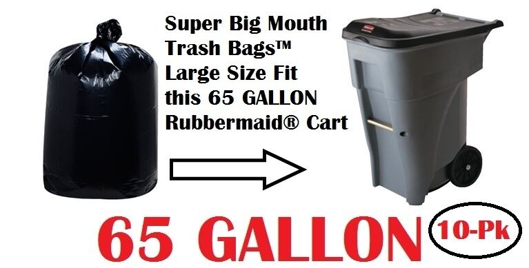 65 gallon trash bags for roll carts super big mouth bags free shipping 3 mil ebay. Black Bedroom Furniture Sets. Home Design Ideas