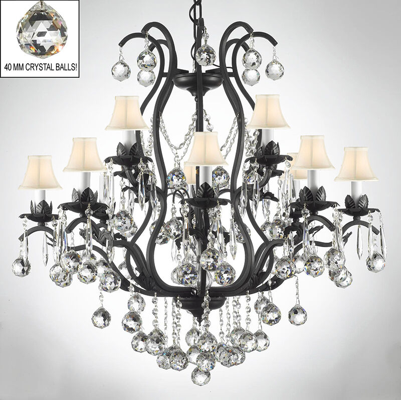Wrought Iron Chandeliers Lighting Dressed W Crystal Balls White