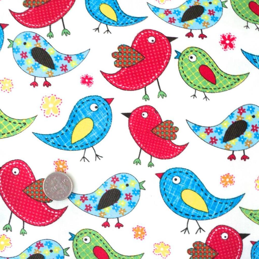 Tweet rainbow birds cotton fabric kids children for Fabrics for children s rooms