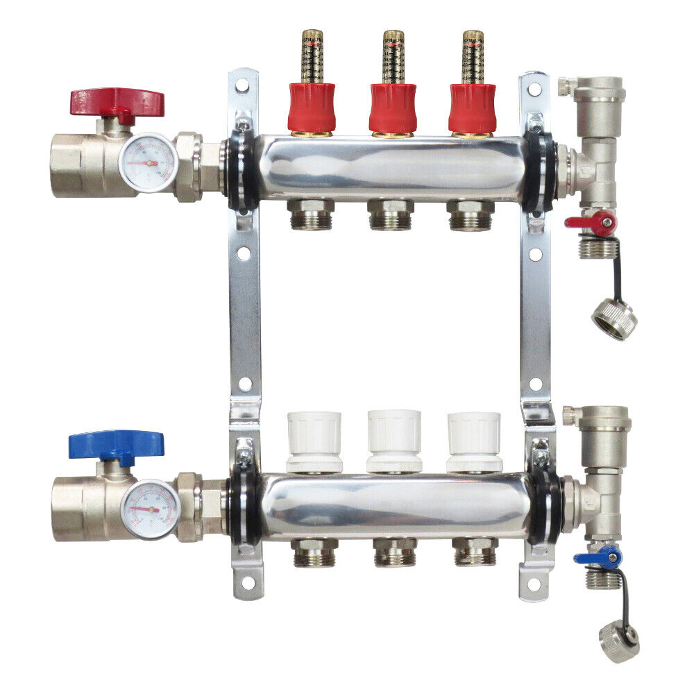 Loop port stainless steel pex manifold radiant heating