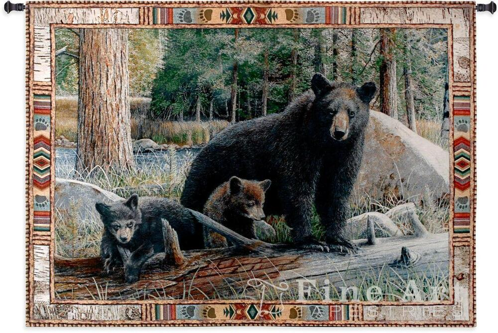 53x36 New Disoveries Bear Amp Cubs Wildlife Tapestry Wall
