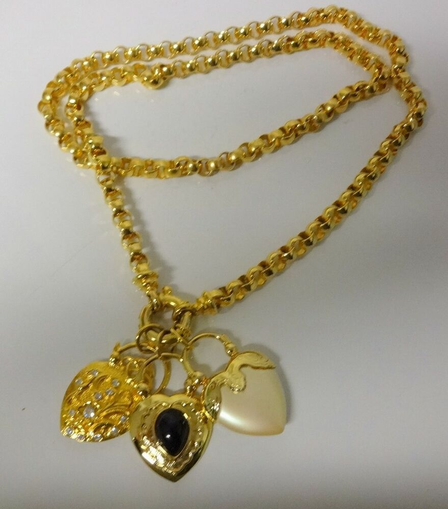 Vintage signed joan rivers gold tone pendant charms puffy for Joan rivers jewelry necklaces