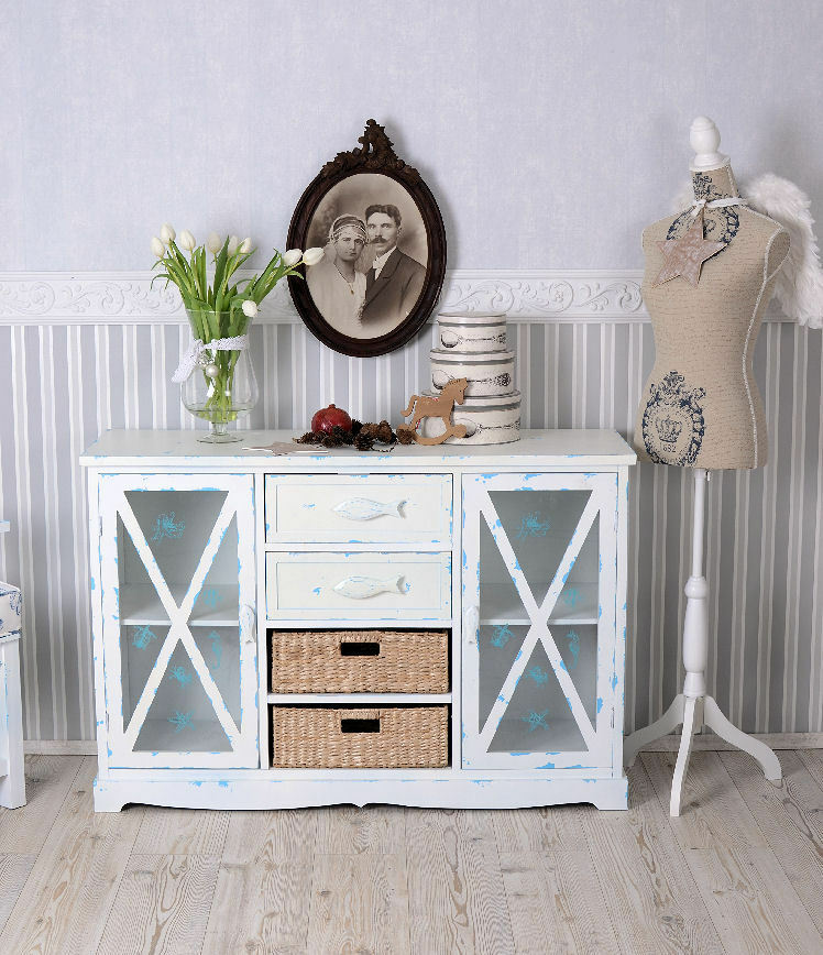 vitrinenschrank weiss anrichte sylt maritim schrank vitrine landhaus sideboard ebay. Black Bedroom Furniture Sets. Home Design Ideas