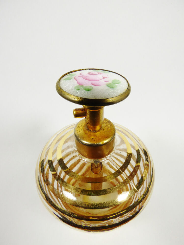 Vtg Clear Gold Swirl Glass Round Perfume Cloisonne Top