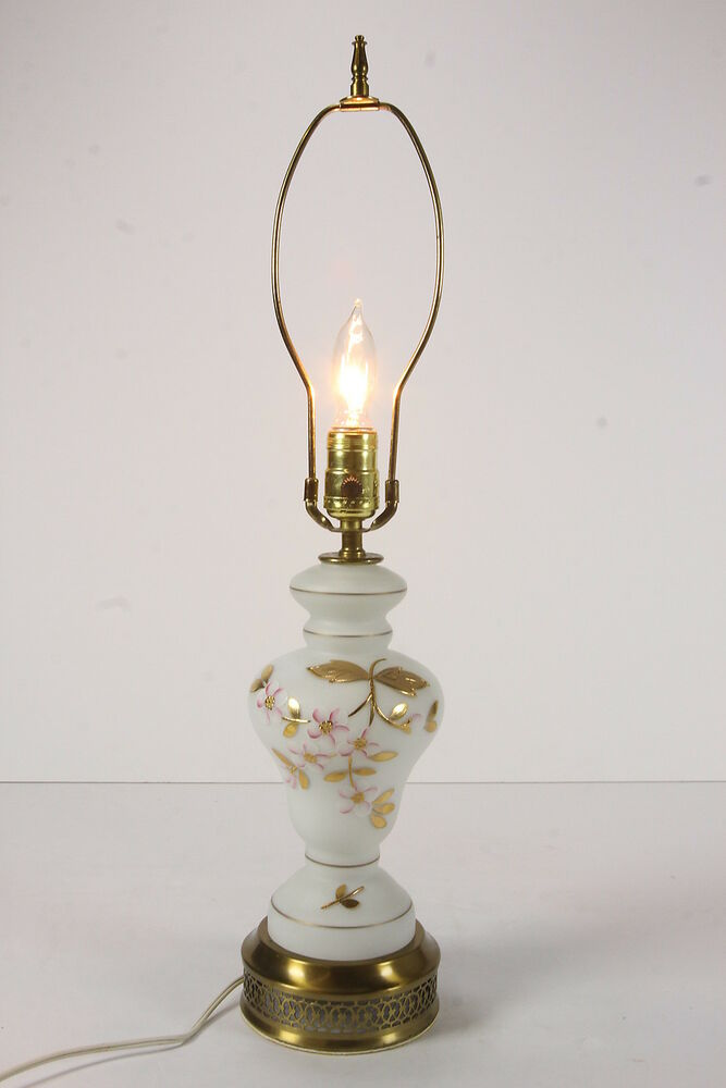 Vintage White Satin Glass Table Lamp W Hand Painted