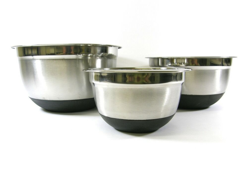 3 pc stainless steel non skid silicone base mixing bowl set 1 5 3 5 quart ebay. Black Bedroom Furniture Sets. Home Design Ideas