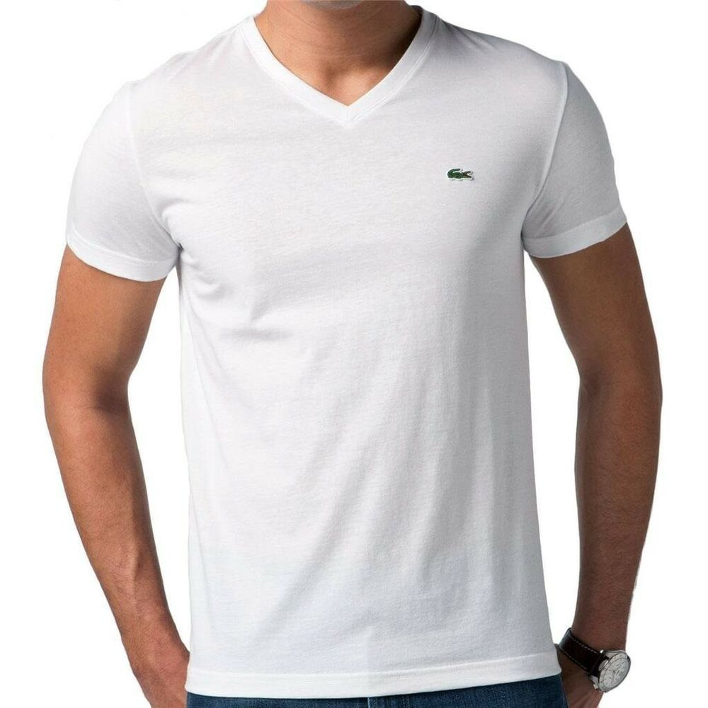 new lacoste men 39 s premium pima cotton sport athletic v neck shirt t shirt white ebay. Black Bedroom Furniture Sets. Home Design Ideas