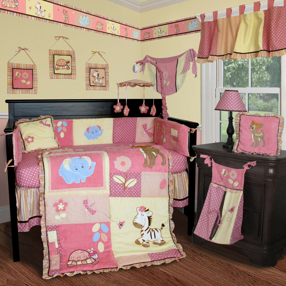 baby boutique jungle animal 15 pcs nursery crib bedding set ebay. Black Bedroom Furniture Sets. Home Design Ideas