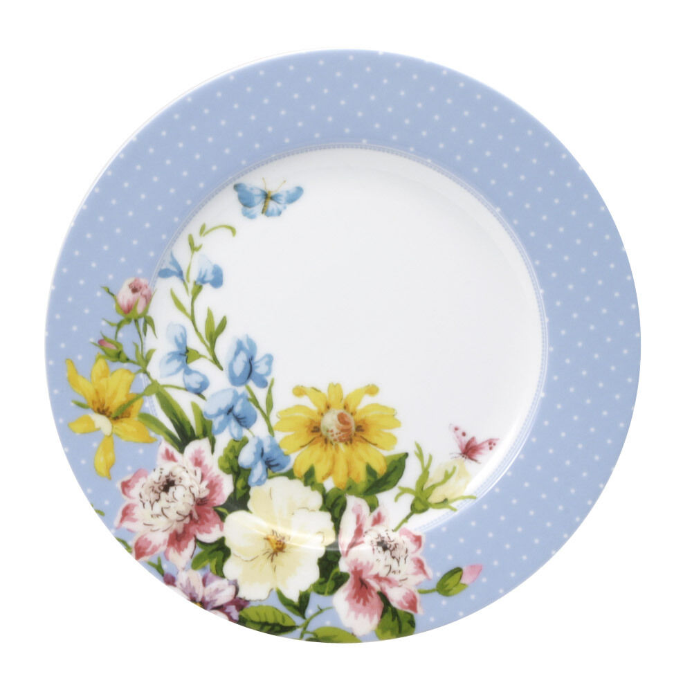 katie alice english garden blue rim salad plate ebay. Black Bedroom Furniture Sets. Home Design Ideas