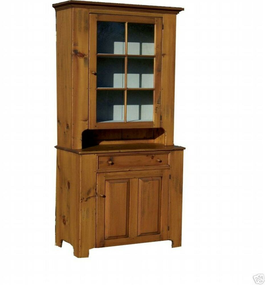 Country Kitchen Hutches: PRIMITIVE HUTCH STEPBACK CUPBOARD EARLY AMERICAN FARMHOUSE