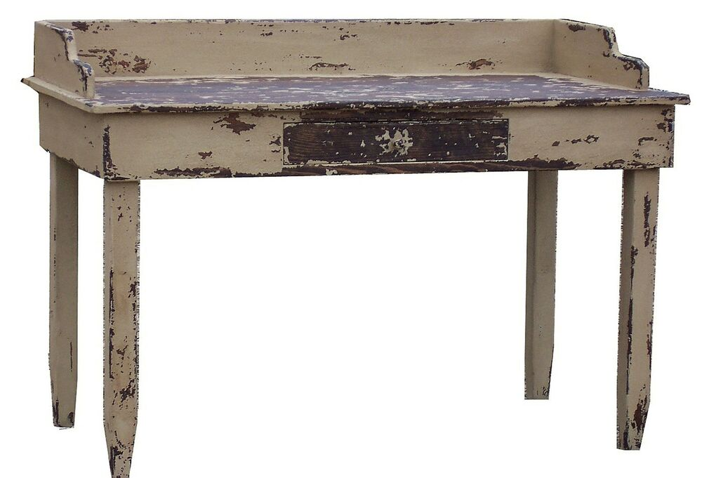 PRIMITIVE PAINTED DESK COUNTRY RUSTIC FARMHOUSE FARM TABLE PINE FURNITURE