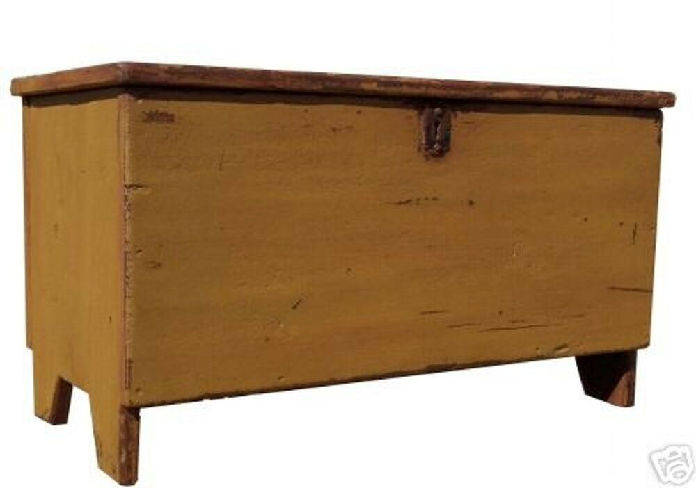 Blanket Chest Box Trunk Primitive Farmhouse Painted Coffee Table Furniture Pine Ebay