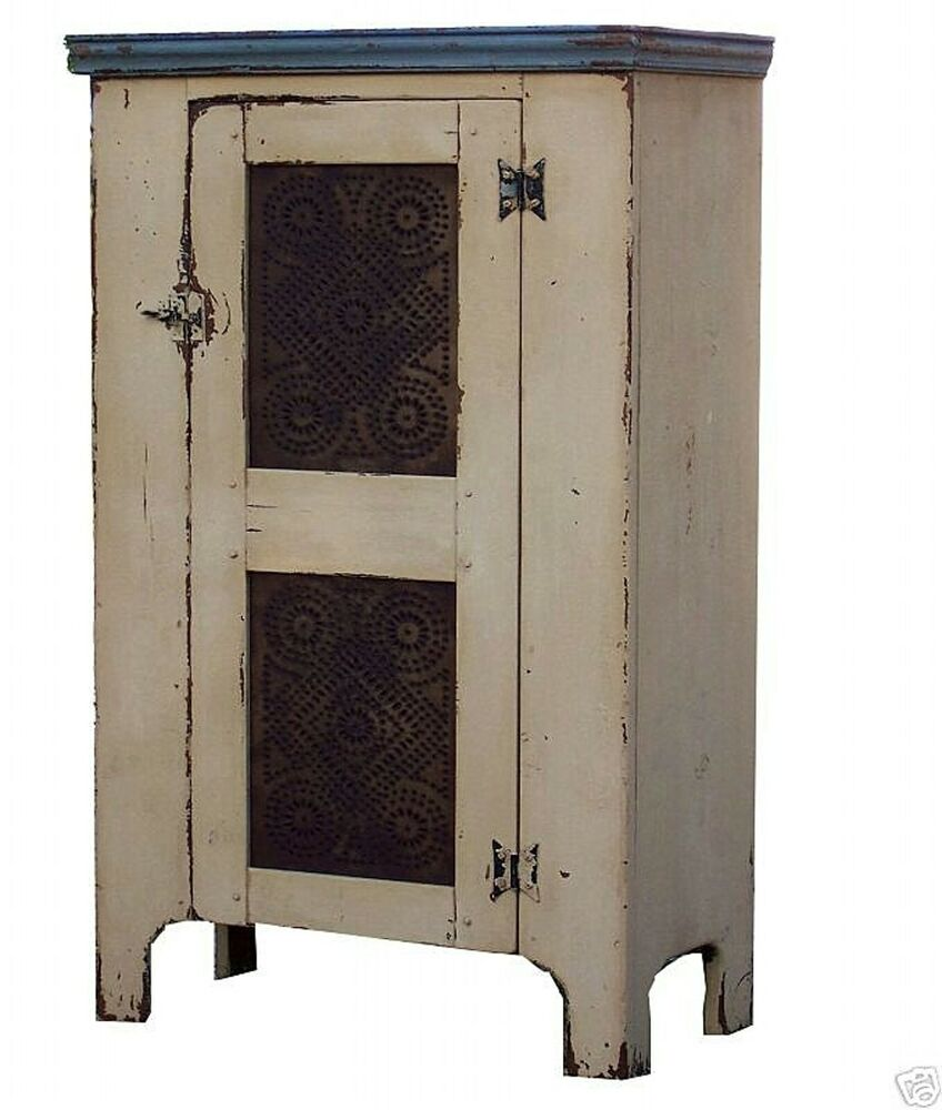 PRIMITIVE PIE SAFE ANTIQUE REPRODUCTION EARLY AMERICA CABINET CUPBOARD FARMHO