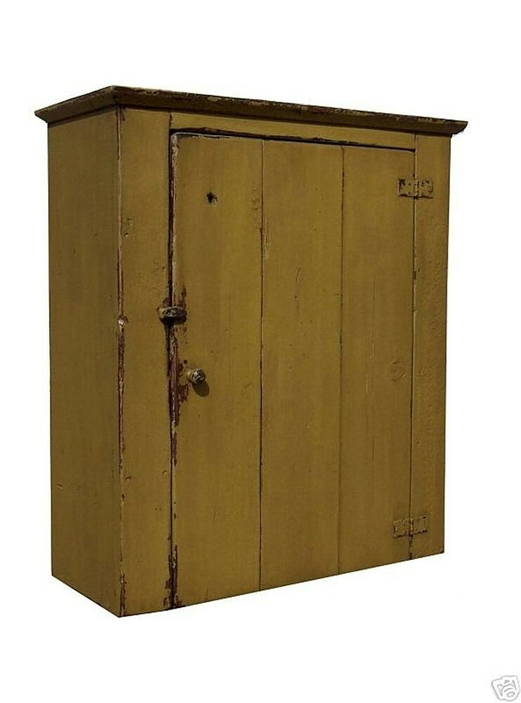 Farmhouse wall cabinet primitive painted pine furniture for Reproduction kitchen cabinets