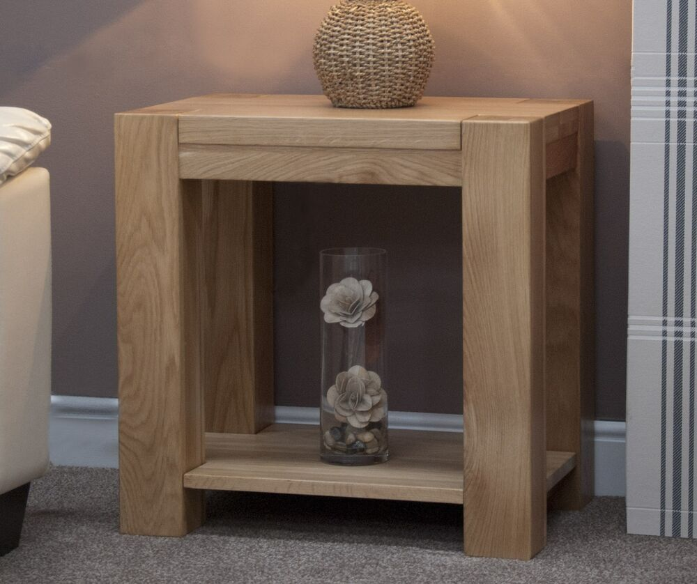 Michigan lamp side end table solid oak living room for Living room end table lamps