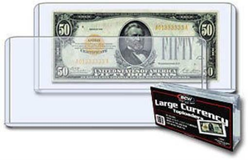 400 Bcw Large Bill Currency Rigid Topload Holders Hard