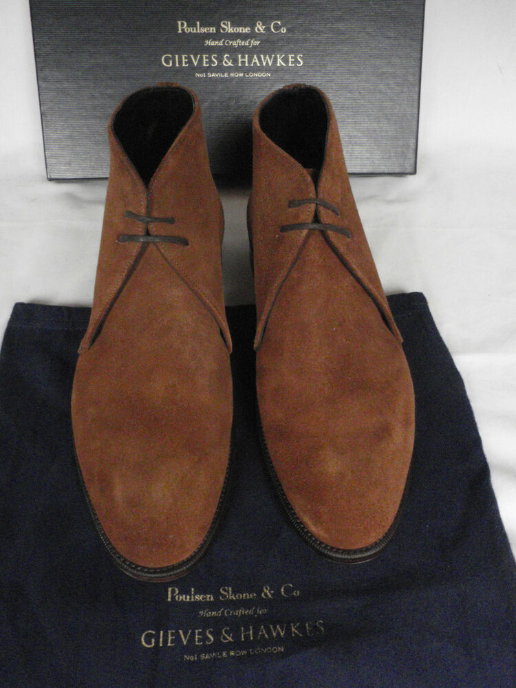 NEW Mens Poulsen Skone Gieves & Hawkes Brown Suede Chukka Boots UK ...