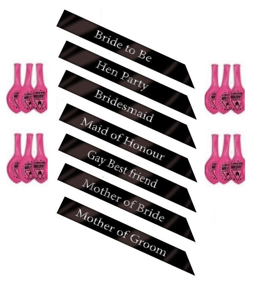 BLACK HEN PARTY SASH SASHES GIRLS DO NIGHT OUT ACCESSORIES