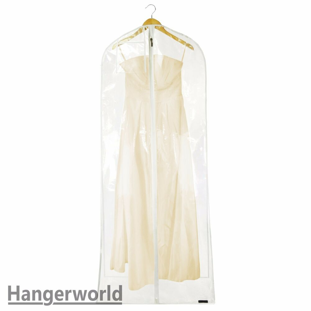 Wedding Gown Garment Bag: XL Clear Transparent Wedding Dress Cover Prom Ball Gown