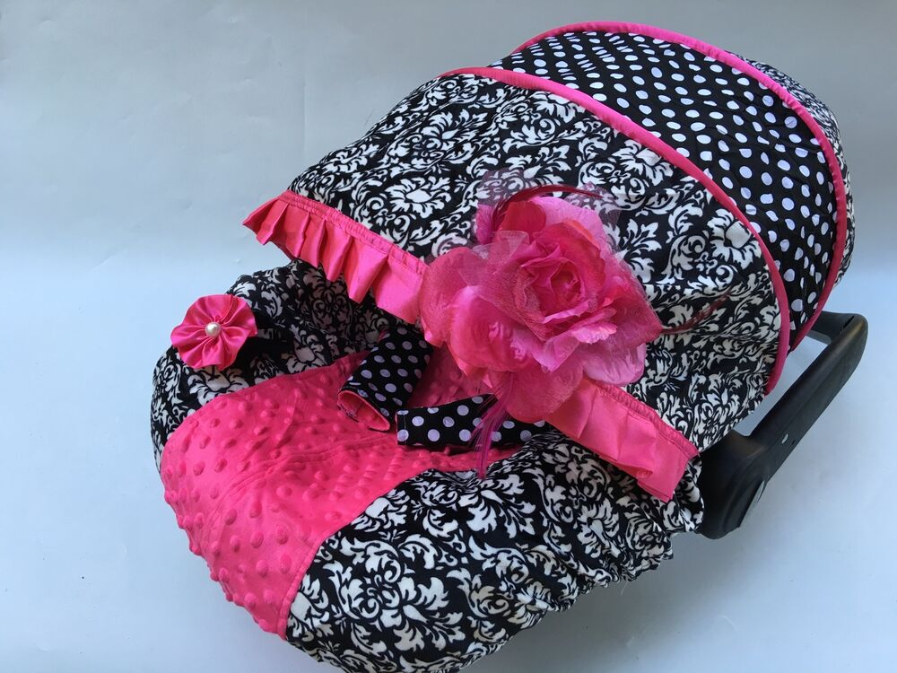 baby car seat cover canopy cover set fit most seat black white damask dots print ebay. Black Bedroom Furniture Sets. Home Design Ideas