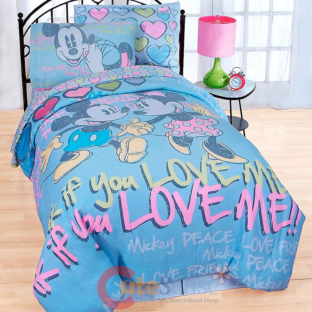 Disney Mickey Minnie Mouse 7pc Full Size Bedding Comforter