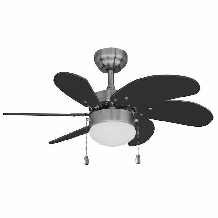 Satin Nickel 30 Quot Ceiling Fan W Light Kit Black Blades 19 1487 Ebay