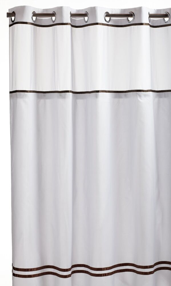 Hookless Fabric Shower Curtain With Built In Liner White Brown New Ebay