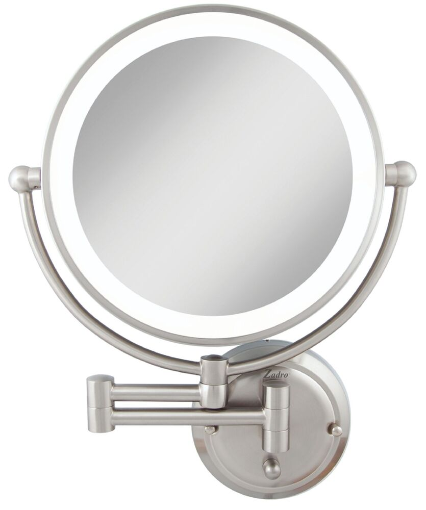 zadro 1x 5x magnification dual sided glamour wall mount lighted makeup mirror ebay. Black Bedroom Furniture Sets. Home Design Ideas