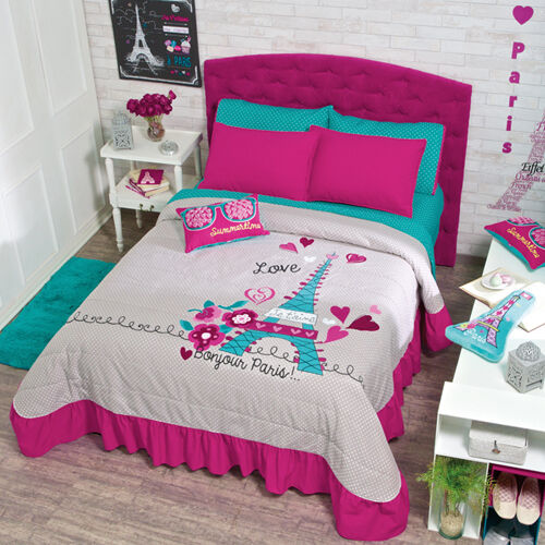 New teens girls aqua pink gray eiffel tower paris bedspread bedding sheet set ebay - Bedspreads for teenagers ...