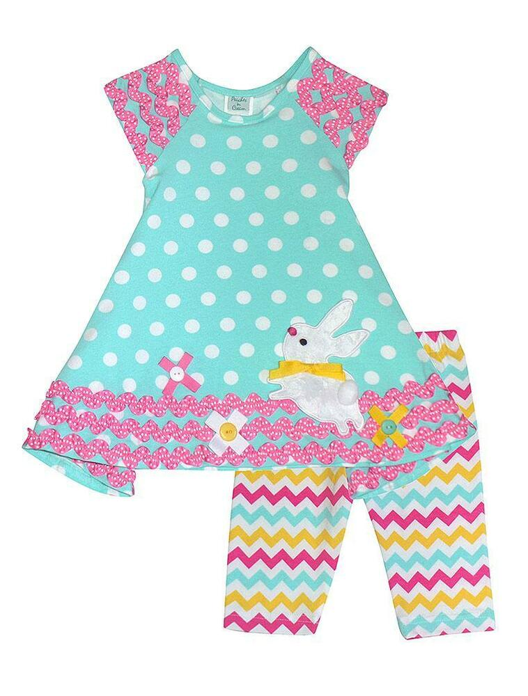 New Girls Boutique Peaches N Cream Sz 12m Aqua Bunny