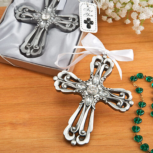 Ornament Christening Favors: 50 Silver Cross Ornament Wedding Favor Christening Baby