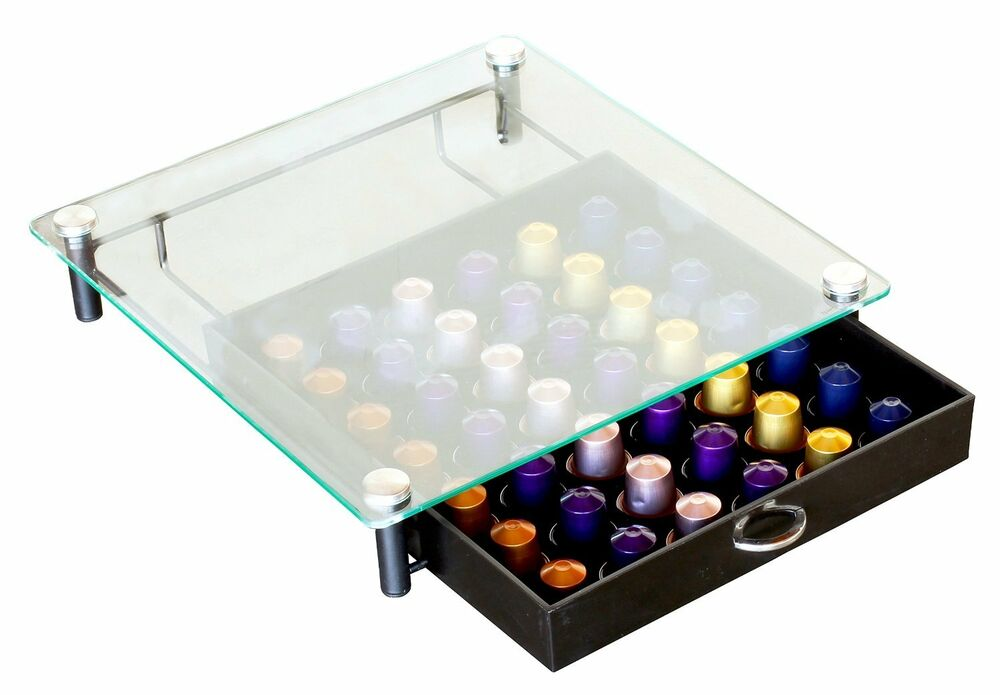 Decobros Crystal Tempered Glass Nespresso Storage Drawer