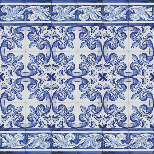Portuguese Handmade Painted Clay Azulejos Tiles Repetitive
