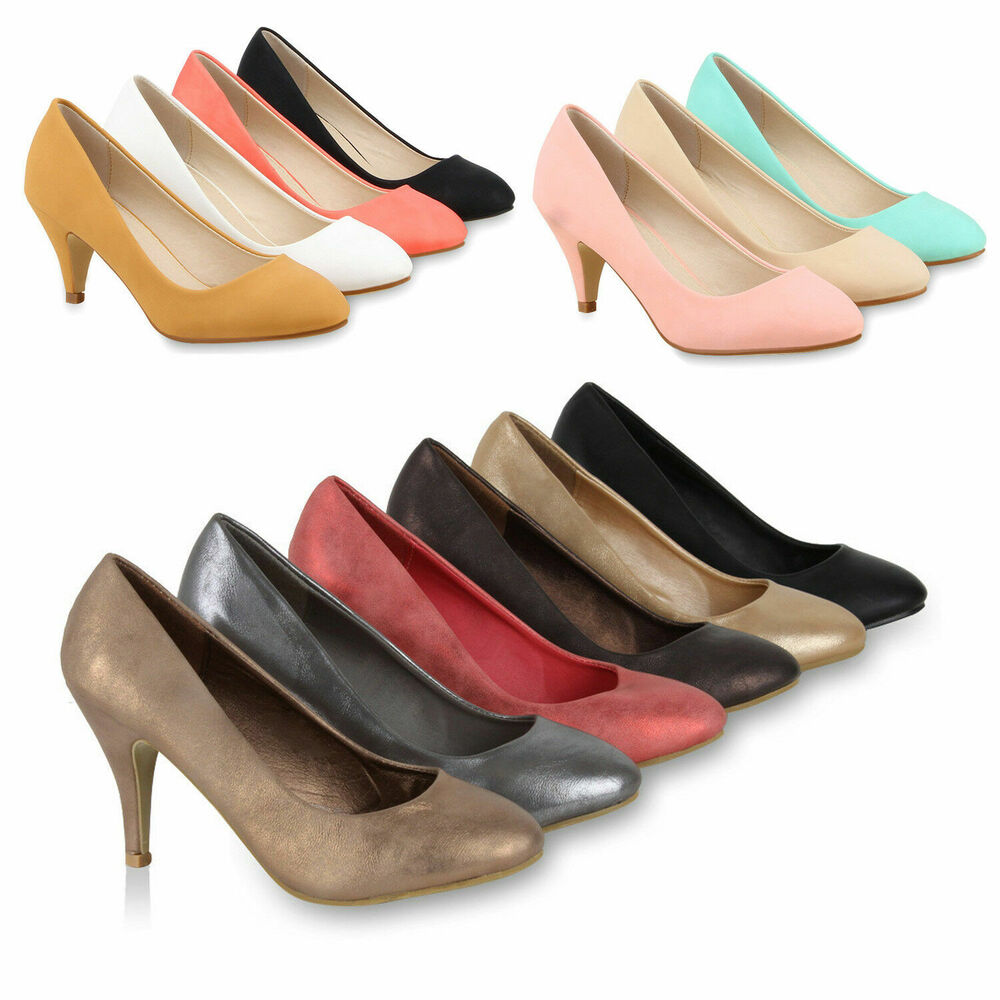damen pumps viele farben pastell schuhe stilettos 74762 ebay. Black Bedroom Furniture Sets. Home Design Ideas