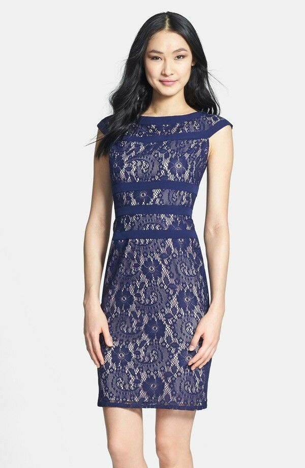Nwot Indigo Purple Adrianna Papell Lace Sheath Dress Size