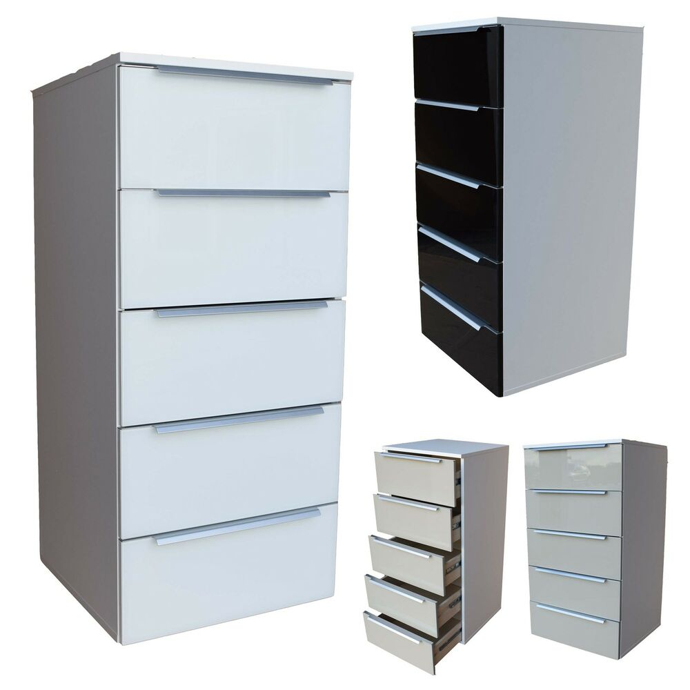 kommode highboard mehrzweckschrank 5 schubladen weiss schwarz sahara glas ebay. Black Bedroom Furniture Sets. Home Design Ideas