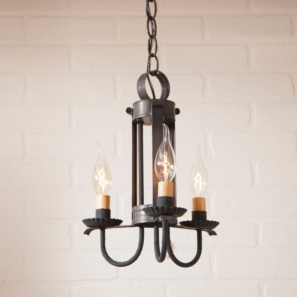Black Candle Ceiling Lights : Primitive candelabra ceiling light blackened tin rustic