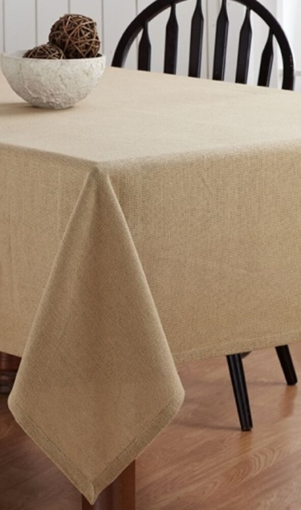 Burlap natural table cloth 60x120 hemmed cotton woven for Table 60x120