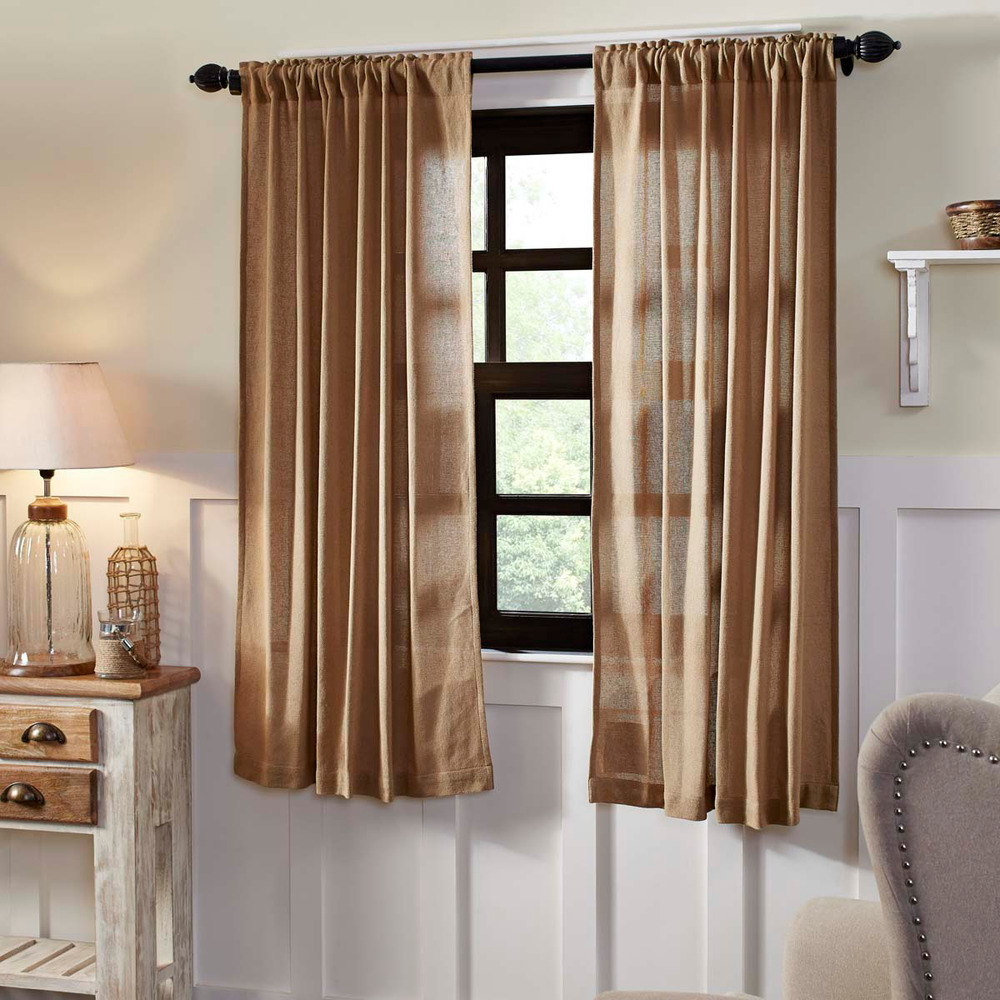 "BURLAP NATURAL SET OF 2 CURTAIN PANELS 63X36"" W/ TIE BACKS ...