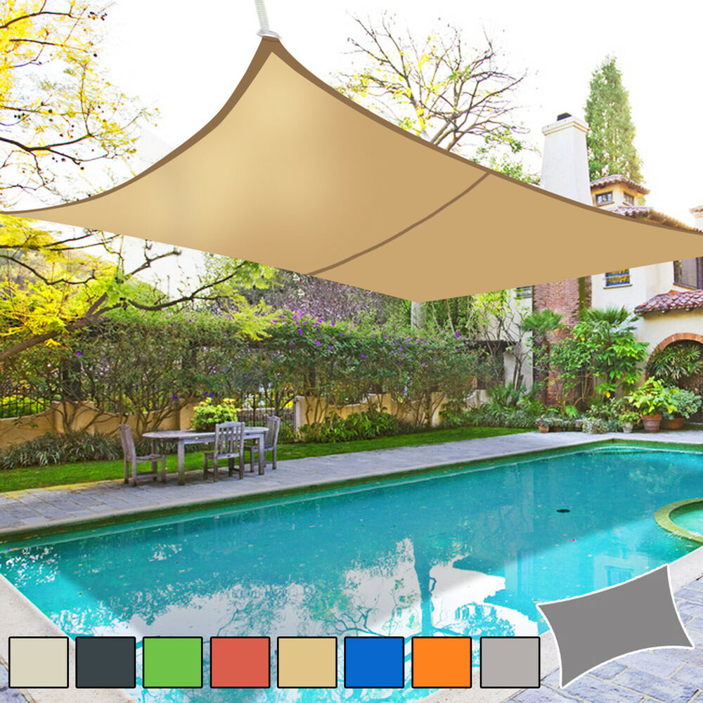 Sun shade sail garden patio awning canopy 98 uv block for Colorado shade sail