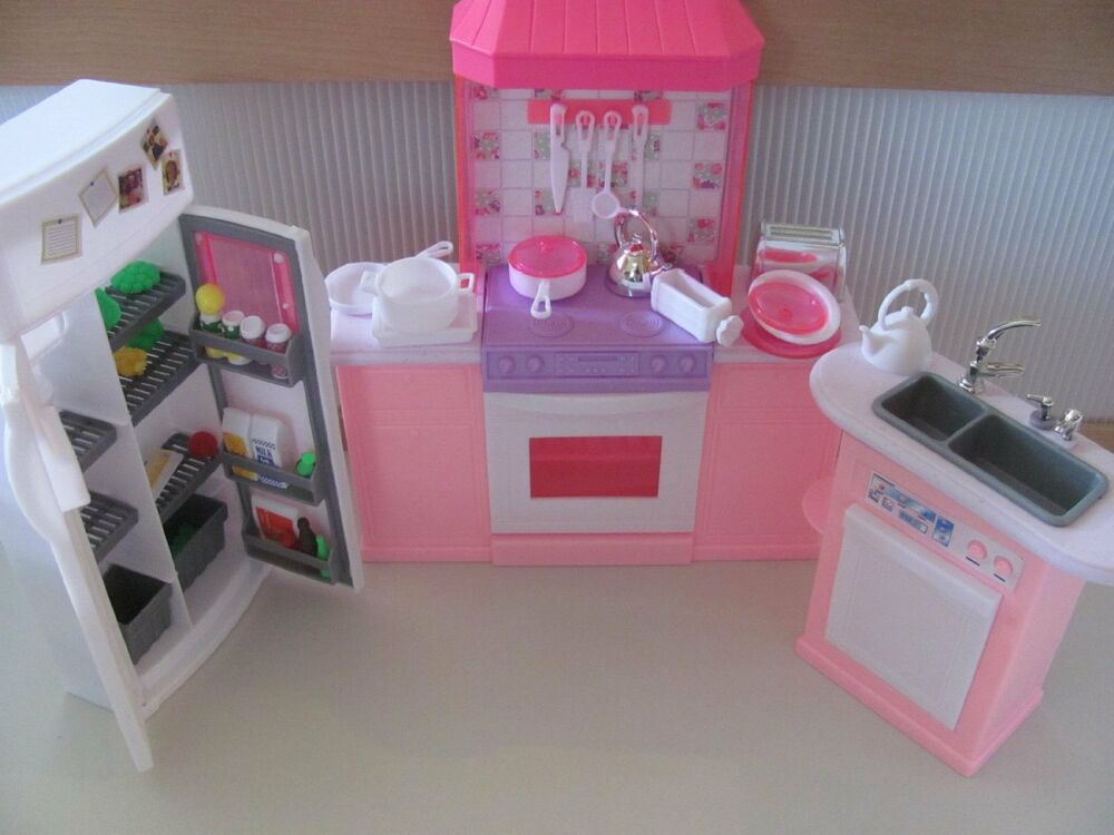 Barbie size dollhouse furniture kitchen set new free for Kitchen set from the 90 s