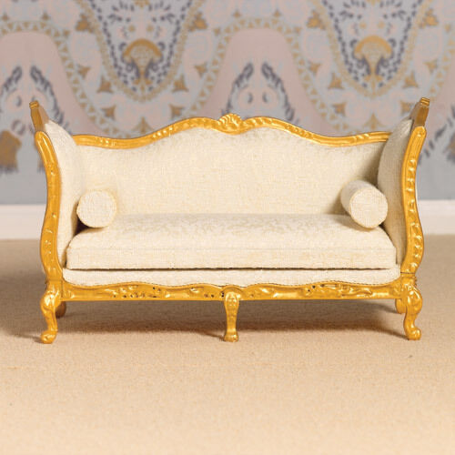 Dollhouse Miniatures St Louis: Dolls House 4403 Sofa Louis XV Style Gold & Cream 1:12 For