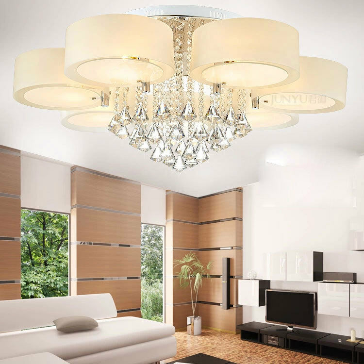 Light Filled Contemporary Living Rooms: Modern 60/70/90cm Crystal LED Chandeliers Ceiling Lights