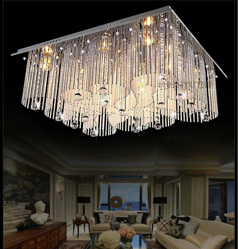 Modern crystal led ceiling lights chandeliers restaurant for Ebay living room lights