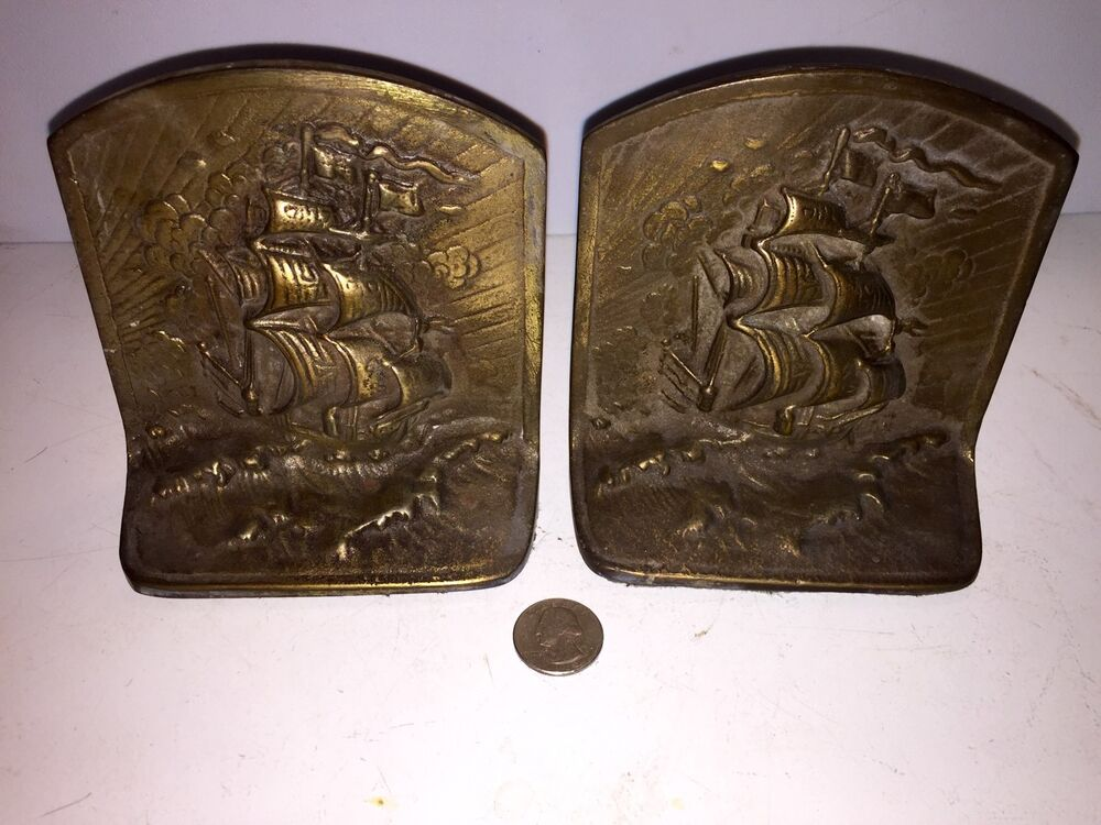 Antique clippership solid brass bookends nice look ebay - Antique brass bookends ...