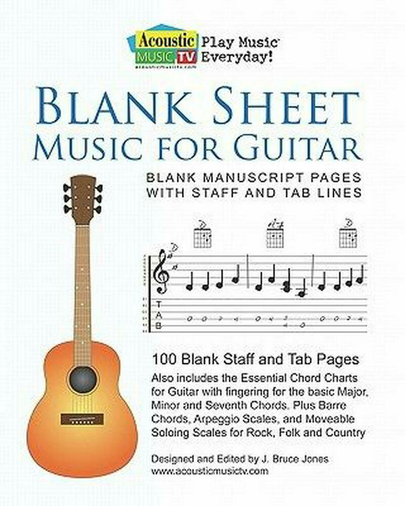 blank sheet music for guitar blank manuscript pages with staff and tab lines 1 9781461004257. Black Bedroom Furniture Sets. Home Design Ideas